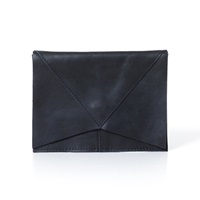 London Edit Navy Leather Small Pouch Blue