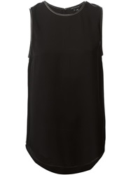 Theory Leather Trim Tank Top Black