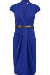 Badgley Mischka Crystal And Bead Embellished Draped Crepe Dress Royal Blue