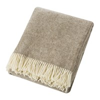 Bronte By Moon Natural Pure Wool Throw Herringbone Beige