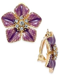 Charter Club Gold Tone Purple Flower Crystal Clip On Stud Earrings Only At Macy's