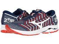 Mizuno Wave Rider 21 Estate Blue High Risk Red Peachtree Running Shoes Multi