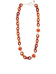 Diana Broussard Orange And Tortoiseshell Ball And Chain Necklace