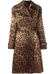 Dolce And Gabbana Leopard Print Trench Coat Brown
