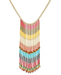 Gold Tone Colorful Beaded Fringe Statement Necklace Only At Macy's Multi
