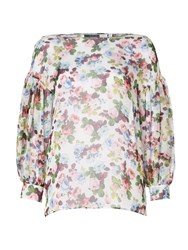 Sportmax Code Floral Print Silk Sheer Blouse With Bell Sleeves White