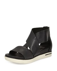 Eileen Fisher Sport Wide Strap Leather Sandal Black Women's