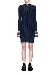 Emilio Pucci Zip Front Pleated Cuff Stripe Knit Dress Multi Colour