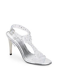 Stuart Weitzman Looking Good Rhinestone Embellished Clear Sandals Silver