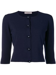 D.Exterior Cropped Cardigan Blue