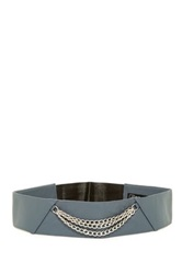 Jj Winters Jagger Italian Leather Chain Front Stretch Belt Gray