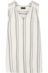 Hatch Lyndi Embroidered Cotton Canvas Top Ivory