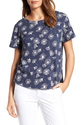 Caslonr Women's Caslon Print Crinkle Cotton Blend Top Navy White Print