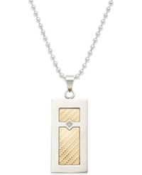 Macy's Men's Diamond Accent Pendant Necklace In 18K Gold And Stainless Steel