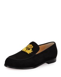 Christian Louboutin Laperouza Suede Crest Red Sole Loafer Black Gold