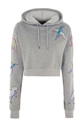 Kuccia Sequin Dinosaur Cropped Hoodie By Grey