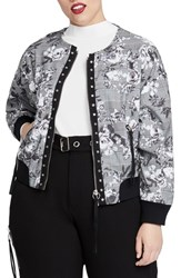 Rachel Roy Plus Size Baldwin Bomber Jacket Grey Combo