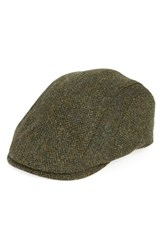 Barbour Men's Herringbone Tweed Wool Driving Cap Green Olive