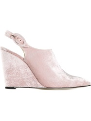 Amelie Pichard Pointed Toe Wedge Mules Pink And Purple