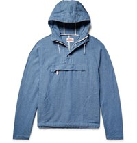 Battenwear Linen And Cotton Blend Chambray Hooded Anorak Blue