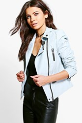 Boohoo Pu Biker Jacket With Quilted Shoulder Panels Ice