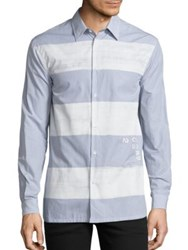 Diesel Black Gold Striped Cotton Shirt Blue Stripe