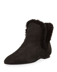 The Row Eros Shearling Trimmed Nubuck Boot Black