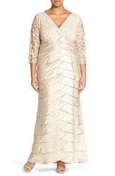 Plus Size Women's Adrianna Papell Lace Bodice Empire Gown
