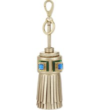 Anya Hindmarch Ghost Tassel Leather Bag Charm Light Gold Metallic