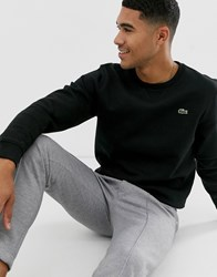 Lacoste Sport Logo Crew Neck Sweat In Blacck Black