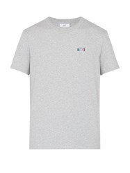 Ami Ami Embroidered Cotton T Shirt Grey