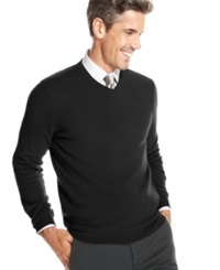 Club Room Big And Tall Cashmere V Neck Sweater Deep Black
