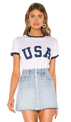 Show Me Your Mumu Recess Ringer Tee In White. Usa Graphic