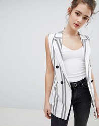 Bershka Stripe Sleeveless Blazer Multi