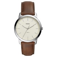 Fossil Men's Minimalist Leather Strap Watch Brown White Fs5439