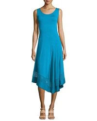 Neiman Marcus Mesh Trim Asymmetric Maxi Dress Aqua Vista