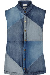 Current Elliott Patchwork Denim Vest Blue