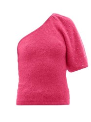 Joostricot Beaded One Sleeve Mohair Blend Sweater Pink