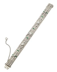 Estate Art Deco Diamond And Emerald Bracelet