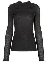 Rosetta Getty Black Cutout Long Sleeve Top