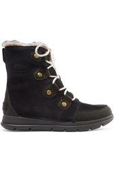 Sorel Explorer Joan Faux Fur Trimmed Waterproof Suede And Leather Ankle Boots Black