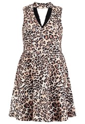 New Look Curves Summer Dress Brown Pattern
