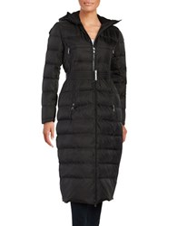Vince Camuto Long Belted Puffer Coat Black