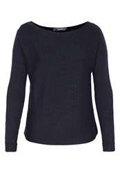 Hallhuber Boxy Jumper With Horizontal Stripes Blue