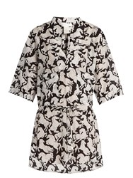 Stella Mccartney Running Horses Print Cotton Blend Shirt Black White