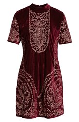 Kas New York Lily Embroidered Velvet Shift Dress