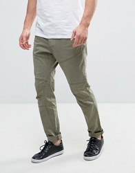 Esprit Cotton Twill Chino With Engineered Knee Khaki Green