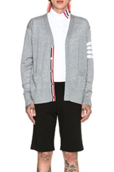 Thom Browne Wool Cardigan With Bar Stripe Sleeve In Gray