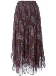 See By Chloe Plisse Pleated Paisley Skirt Brown