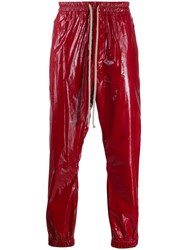Rick Owens Wet Look Track Pants Red